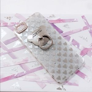 iPhone 7 Silver Glitter Bear Ring Hearts Case